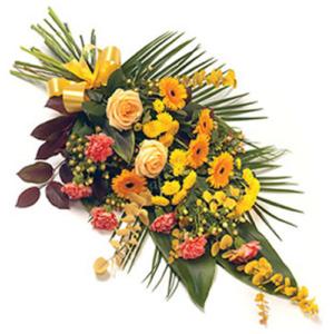 Palma funebre fiori misti di stagione scalato