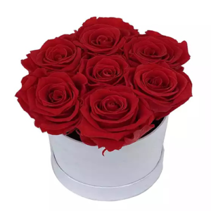 Box/Scatola cappelliera con 7 rose rosse
