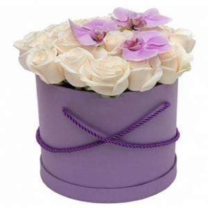 Box/Scatola cappelliera con rose e phalenopsis