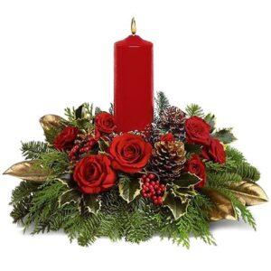 Elegantissima centro tavola natalizio col rosso