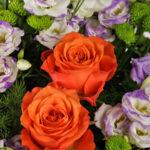 Bouquet autunno con rose arancio