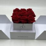 elegante scatola bianca con 9 rose rosseuscatola bianca con 9 rose rosse